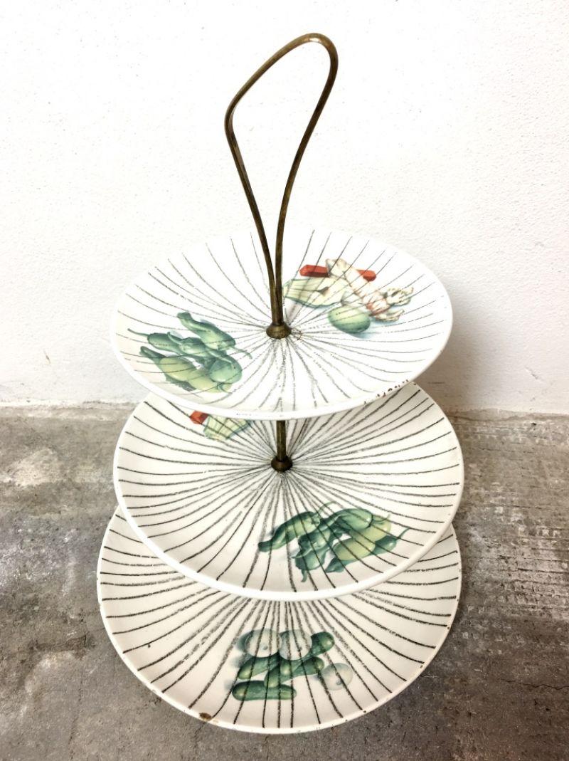 Portafrutta in Ceramica e ottone Anni 60