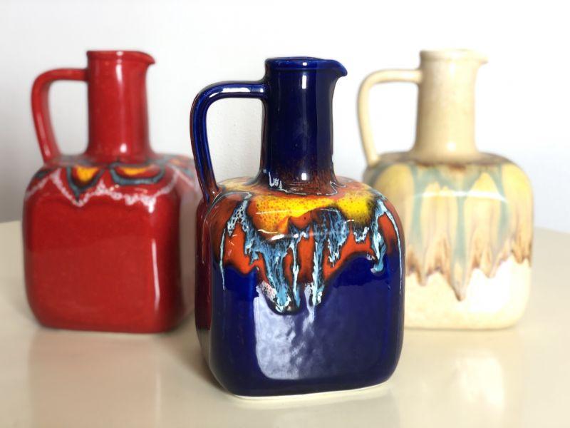 Set di 3 Vasi in  Ceramica Vintage Anni 70 - Made in italy -